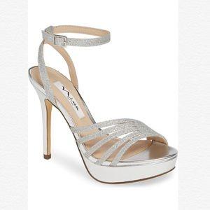 Nina Starla Glitter Platform Ankle Strap Sandals